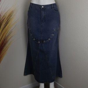 Two Piece Set Medium Wash Blue Denim Jeans Skirt